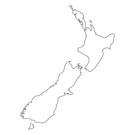 Illustration pour New Zealand - solid black outline border map of country area. Simple flat vector illustration. - image libre de droit