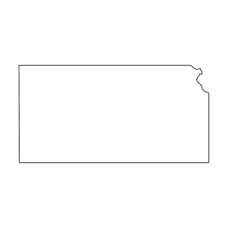 Illustration pour Kansas, state of USA - solid black outline map of country area. Simple flat vector illustration. - image libre de droit