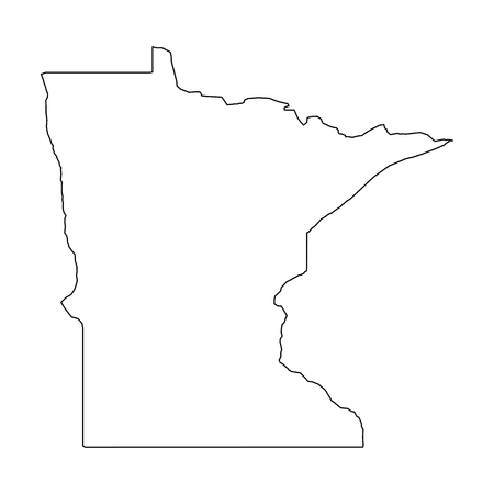 Illustration pour Minnesota, state of USA - solid black outline map of country area. Simple flat vector illustration. - image libre de droit