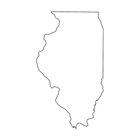 Illustration pour Illinois, state of USA - solid black outline map of country area. Simple flat vector illustration. - image libre de droit
