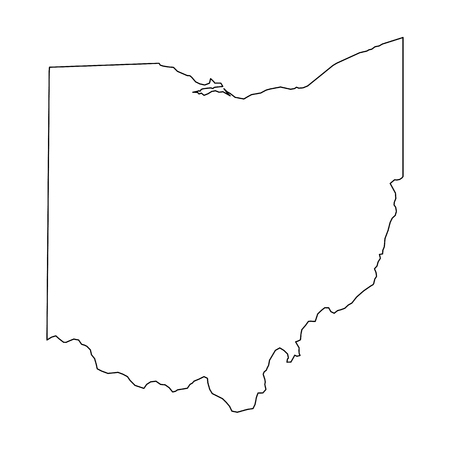 Illustration pour Ohio, state of USA - solid black outline map of country area. Simple flat vector illustration. - image libre de droit