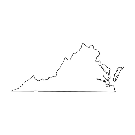 Illustration pour Virginia, state of USA - solid black outline map of country area. Simple flat vector illustration. - image libre de droit