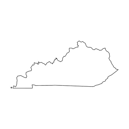 Illustration pour Kentucky, state of USA - solid black outline map of country area. Simple flat vector illustration. - image libre de droit