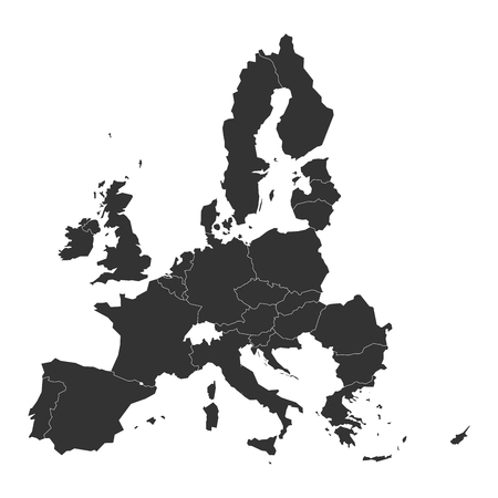 Illustration pour Map of Europe with dark grey EU member states before Brexit. Vector illustration. Simplified map of European Union. - image libre de droit