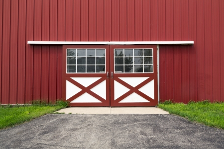 double red barn steel door i mural
