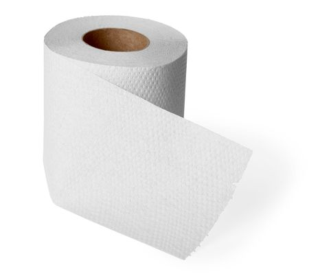 Roll gray toilet paper isolated on white background