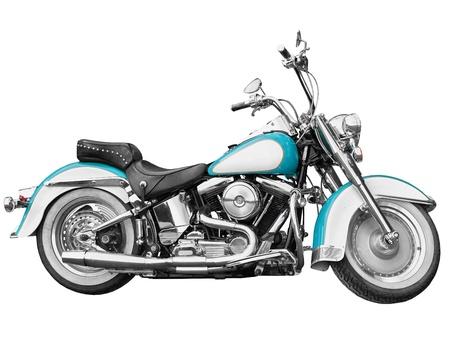 Vintage motorcycle - chopper isolated on white background