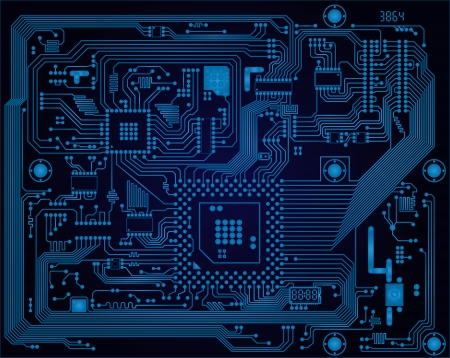 Illustration pour Hi-tech dark blue industrial electronic circuit board vector abstract background - image libre de droit
