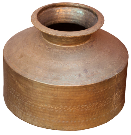 Foto per Antique, bronze, indian water vessel from Jaisalmer, Rajasthan, India, isolated against a white background. - Immagine Royalty Free