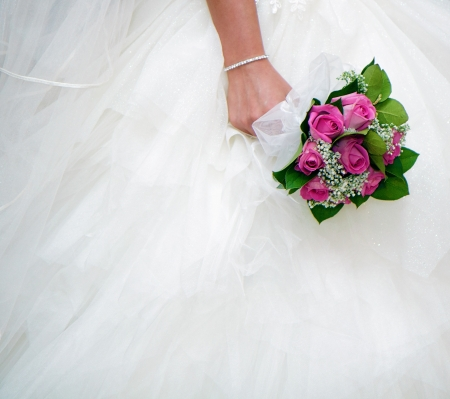 Photo for bridal bouquet on a background of white wedding dresses - Royalty Free Image