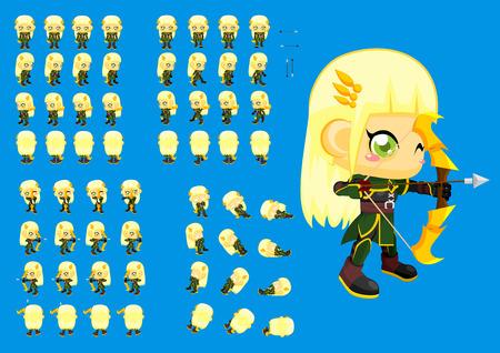 Illustration pour top down archer girl game character sprites - image libre de droit