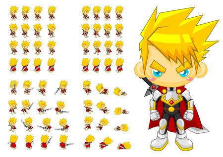 Illustration pour top down knight game character sprites - image libre de droit
