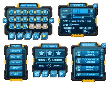 Illustration pour sci-fi game gui interface pack - image libre de droit