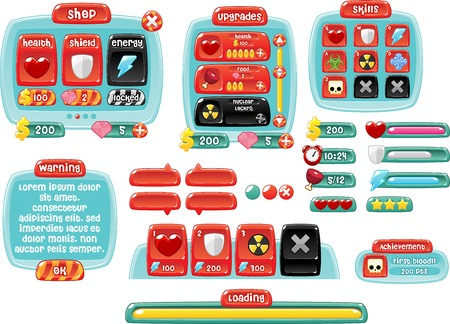 Illustration pour candy game gui interface pack - image libre de droit