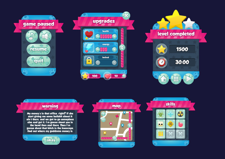 Illustrazione per Joyful space game gui interface pack - Immagini Royalty Free