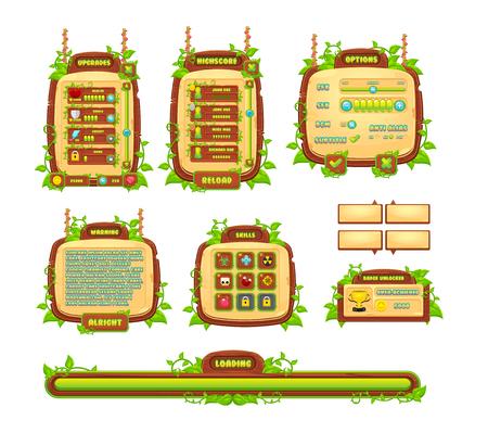 Illustration pour Vines and leaves game GUI - image libre de droit