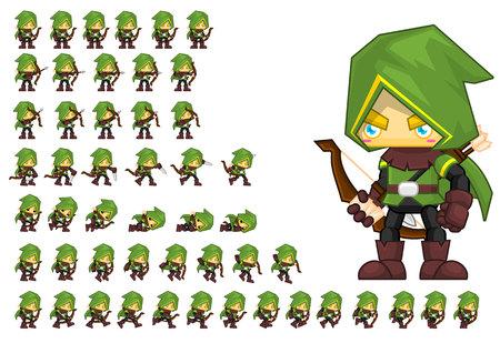Illustration pour Animated archer hero game character - image libre de droit