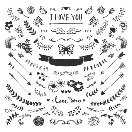 Ilustración de Vintage hand drawn floral elements collection. Vector sketch elements set. Illustration with flowers and leaves, arrows and frames. - Imagen libre de derechos