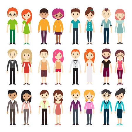 Collection of different men and women in business clothes and free-style clothes. Vector illustration with businessman and businesswoman, flat style. Set of men and women in different dress styles.