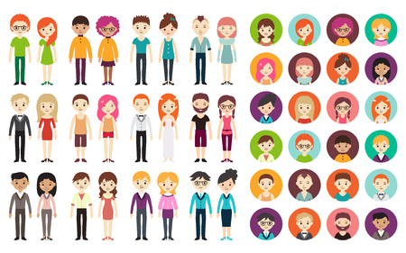 Ilustración de Collection of different men and women in business clothes and free-style clothes. Vector illustration with businessman and businesswoman, flat style. Round avatars with men and women. - Imagen libre de derechos