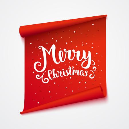 Ilustración de Merry christmas card. Isolated sticker with lettering. Vector art illustration. - Imagen libre de derechos