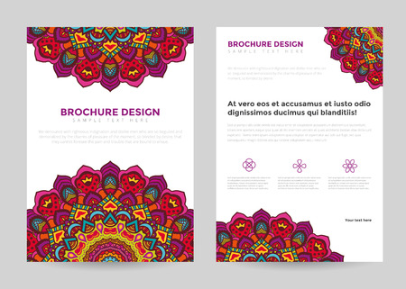 Illustration pour Business brochure design template in A4 size. Brochure with mandala, tribal style. - image libre de droit