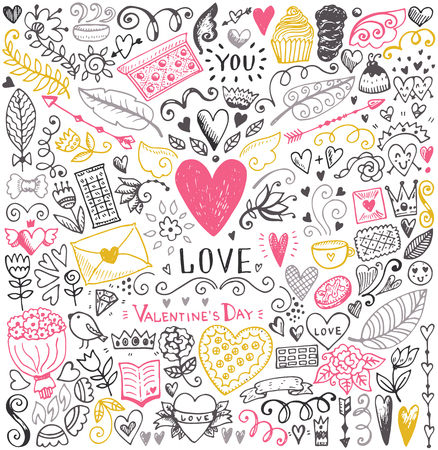 Illustration pour Valentines day sketch pattern. Romantic vector elements. Illustration with hearts and flowers. - image libre de droit