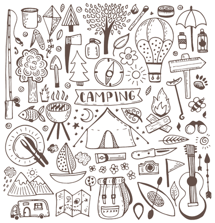 Illustration pour Camping doodle set. Vector sketch illustration. Travel and camping items. - image libre de droit