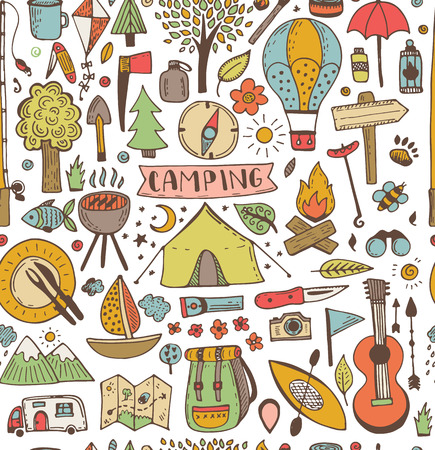 Illustration pour Camping doodle seamless pattern. Vector sketch illustration. Travel and camping items. - image libre de droit
