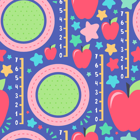 Ilustración de Seamless creative pattern. Vector background with apples and different elements. Design for prints, shirts and posters. - Imagen libre de derechos