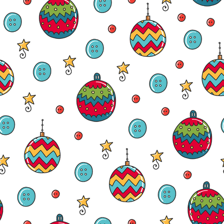 Ilustración de Doodles Christmas seamless pattern. Color vector background, new year theme. Illustration with ball and star. Design for T-shirt, textile and prints. - Imagen libre de derechos