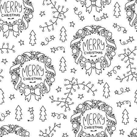 Illustration pour Doodles Christmas seamless pattern. Monochrome vector background, new year theme. Illustration with garland and tree. Design for T-shirt, textile and prints. - image libre de droit
