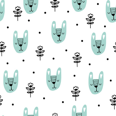 Illustration pour Seamless scandinavian pattern. Vector kids background with rabbit and different elements. Design for prints, shirts and posters. - image libre de droit