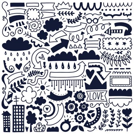 Illustration pour Hand drawn vector decor elements set. Black illustration collection. - image libre de droit