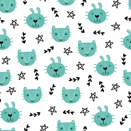 Illustration pour Seamless scandinavian pattern. Vector kids background with animals and different elements. Design for prints, shirts and posters. - image libre de droit