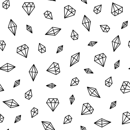 Illustration for Seamless scandinavian pattern. Vector kids background with different crystals. Design for prints, shirts and posters. - Royalty Free Image