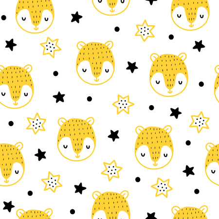 Illustration pour Seamless scandinavian pattern. Vector kids background with bear and different elements. Design for prints, shirts and posters. - image libre de droit