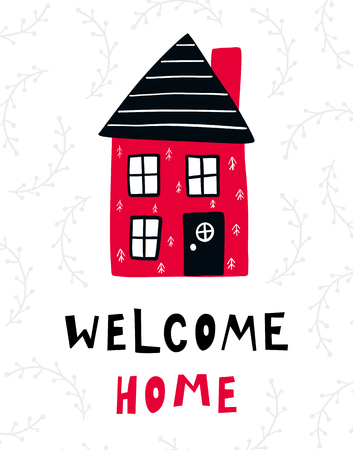 Ilustración de Vector poster with phrase, house and decor elements. Typography card, color image. Welcome home. Design for t-shirt and prints. - Imagen libre de derechos
