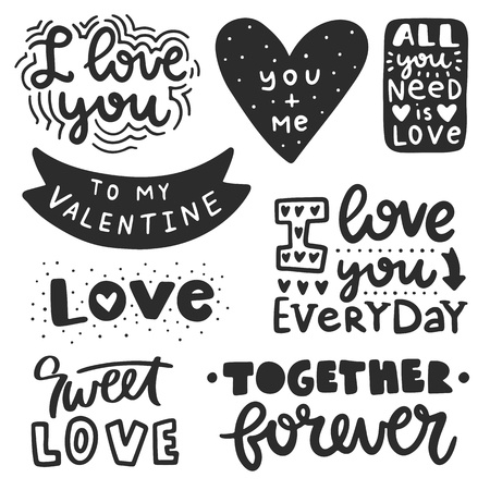 Illustration for Vector hand drawn lettering poster. Creative typography card with phrases. Romantic text collection. - Royalty Free Image