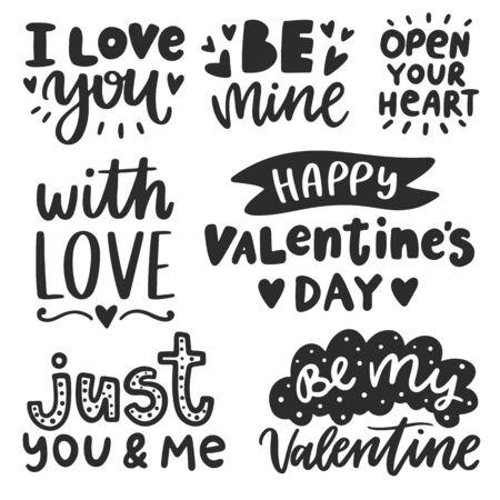 Ilustración de Vector hand drawn lettering poster. Creative typography card with phrases. Romantic text collection. - Imagen libre de derechos