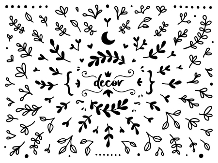 Illustration pour Vintage collection of hand drawn tree branches with leaves. Set of black isolated natural elements, herb silhouette for design seamless patterns, fabric, wrapping paper, wallpaper. - image libre de droit