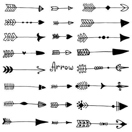 Illustration pour Vintage collection of arrows in sketch style. Set of black isolated elements, ink silhouette for web design, fabric, wrapping paper, wallpaper. - image libre de droit