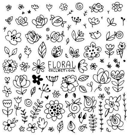Illustration pour Vintage collection of hand drawn flowers with leaves. Set of black isolated natural elements, herb silhouette for design seamless patterns, fabric, wrapping paper, wallpaper. - image libre de droit