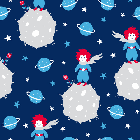 Illustration pour Fairytale cute seamless pattern. Color vector background with boy and planet. Illustration. Design for T-shirt, textile and prints. - image libre de droit
