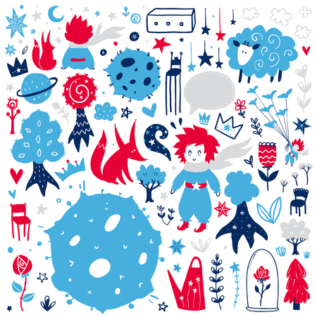 Illustrazione per Fairytale cute elements. Color vector items. Illustration with boy, fox and decor. Design for prints and cards. - Immagini Royalty Free