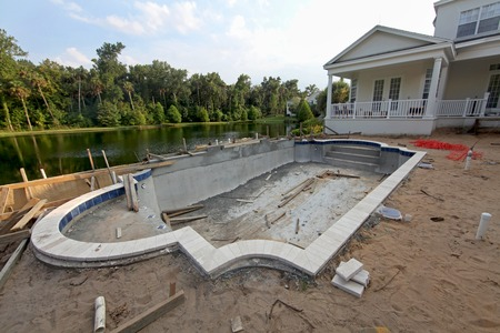 Photo for A Swimming Pool under construction in Florida - Royalty Free Image