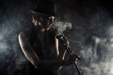 Photo for jazz singer woman with retro microphone - Royalty Free Image