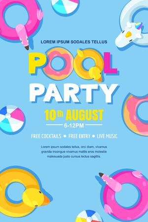 Illustration pour Summer pool party, vector poster, banner layout. - image libre de droit