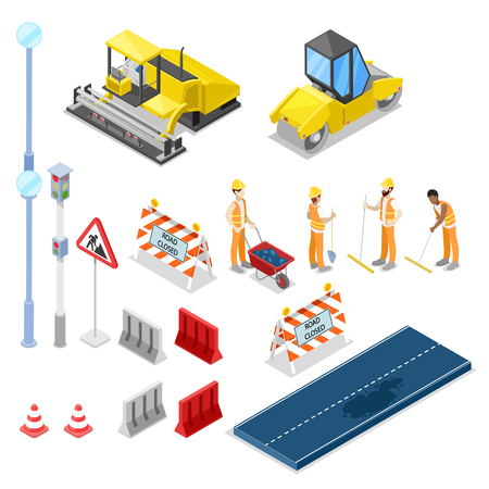 Illustration pour Road repair and construction, vector 3D isometric isolated icons. - image libre de droit