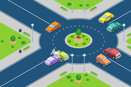 Illustration pour Car crash, vector isometric 3D illustration. Street accident at roundabout junction road. Safety street traffic and insurance concept. - image libre de droit